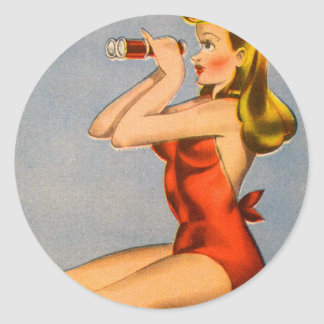 Vintage Retro Kitsch Pin Up Naughty Girl Postcard Classic Round Sticker