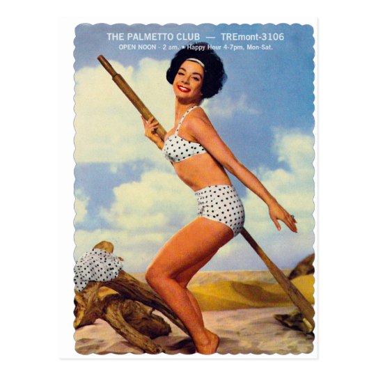Vintage Retro Kitsch Pin Up Postcard Palmetto Club