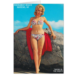 Vintage Retro Kitsch Pin Up Postcard Rockaway Greeting Card