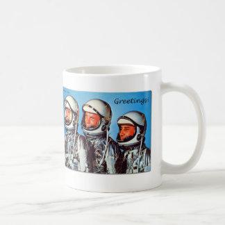 Vintage Retro Kitsch Sci Fi NASA Astronaut Card Basic White Mug