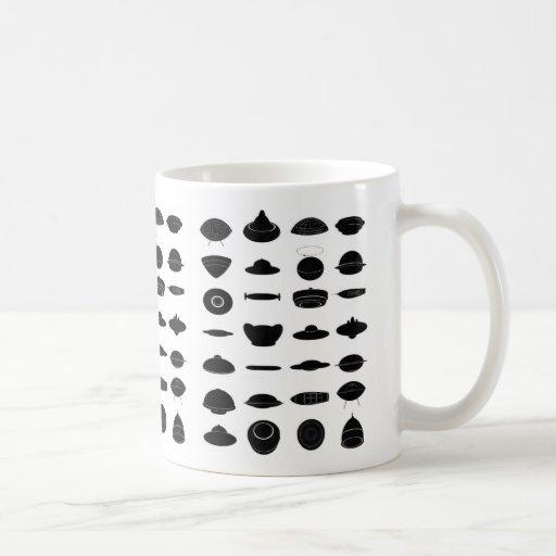Vintage Retro Kitsch Sci Fi UFO Shapes Chart Coffee Mugs