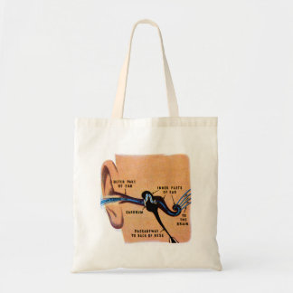 Vintage Retro Kitsch Science Book Ear Diagram Art Budget Tote Bag