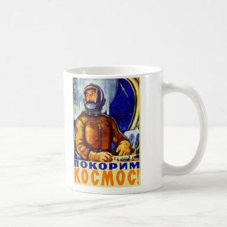 Vintage Retro Kitsch Soviet Cosmonaut Basic White Mug