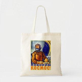 Vintage Retro Kitsch Soviet Cosmonaut Budget Tote Bag