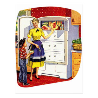 Vintage Retro Kitsch Suburbs Food Stuffed Fridge Postcard