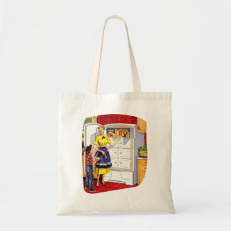 Vintage Retro Kitsch Suburbs Food Stuffed Fridge Tote Bag