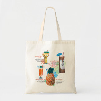 Vintage Retro Kitsch Tiki Cocktails Menu Budget Tote Bag
