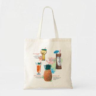 Vintage Retro Kitsch Tiki Cocktails Menu Tote Bag