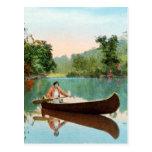 Vintage Retro Kitsch Travel Post Card Canoe