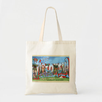 Vintage Retro Kitsch Travel Post Card Wisconsin Tote Bag