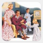 Vintage Retro Kitsch TV Original Family Hour Square Sticker