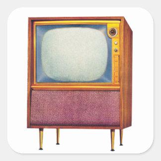 Vintage Retro Kitsch TV Television Set Square Sticker