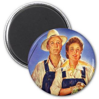 Vintage Retro Kitsch War Poster Mr & Mrs Farmers 6 Cm Round Magnet