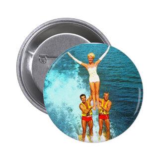 Vintage Retro Kitsch Women Dells Water Skiers 6 Cm Round Badge