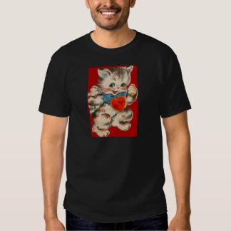 Vintage Retro Kitten With Heart Valentine Card T-shirt