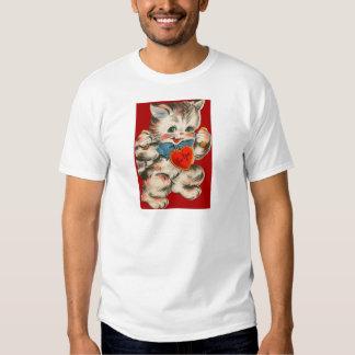 Vintage Retro Kitten With Heart Valentine Card Tee Shirts