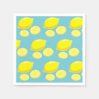 Vintage Retro Lemons Slices Pattern Yellow on Blue Paper Serviettes