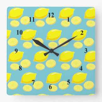 Vintage Retro Lemons Slices Pattern Yellow on Blue Square Wall Clock