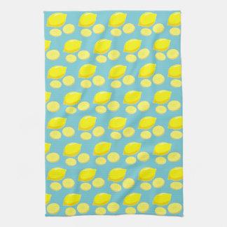 Vintage Retro Lemons Slices Pattern Yellow on Blue Tea Towel