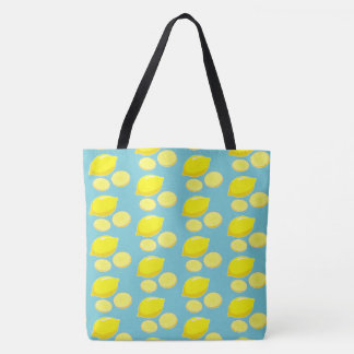 Vintage Retro Lemons Slices Pattern Yellow on Blue Tote Bag