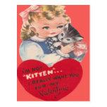 Vintage Retro Little Girl & Kitten Valentine Card Post Card