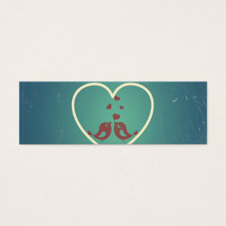 Vintage Retro Love Birds Hearts Teal BlueTurquoise Mini Business Card