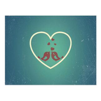 Vintage Retro Love Birds Hearts Teal BlueTurquoise Postcard