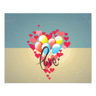 Vintage Retro Love Hearts Funny Valentine Balloons 11.5 Cm X 14 Cm Flyer