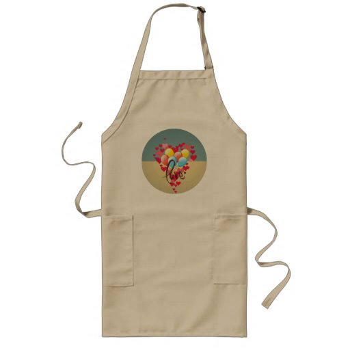 Vintage Retro Love Hearts Funny Valentine Balloons Aprons
