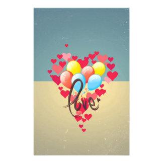 Vintage Retro Love Hearts Funny Valentine Balloons Flyer Design