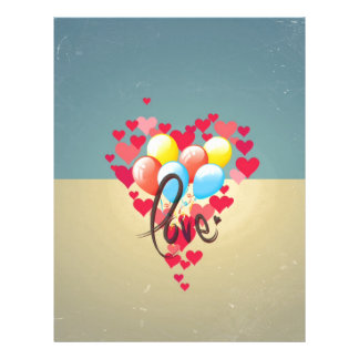 Vintage Retro Love Hearts Funny Valentine Balloons Personalized Flyer