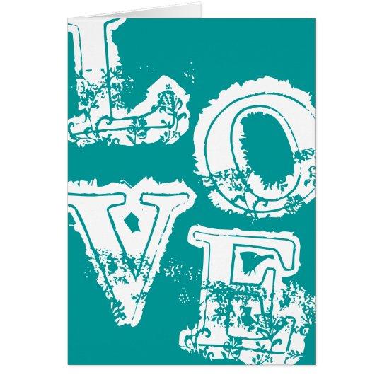 Vintage Retro Love Notecard - Aqua