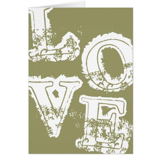 Vintage Retro Love Notecard - Dusty Grey