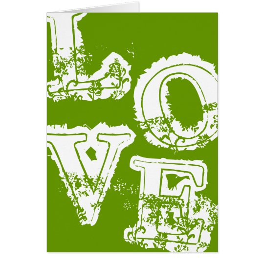 Vintage Retro Love Notecard - Green