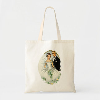 Vintage Retro Marriage 50s Just Married Couple Canvas Bag