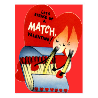 Vintage Retro Matchbook Valentine Postcard