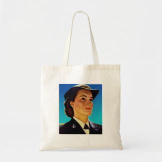 Vintage Retro Military Women WAVEs Navy Tote Bags