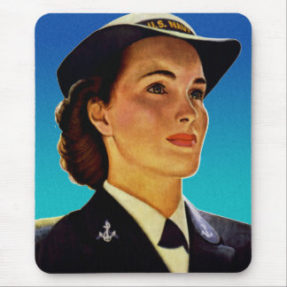 Vintage Retro Military Women WAVEs Navy Mouse Pads