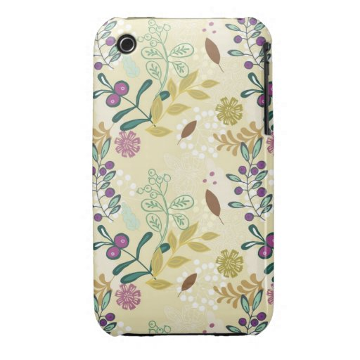 Vintage retro mod spring flowers floral pattern iPhone 3 covers