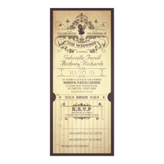 Vintage retro movie tickets wedding invitations