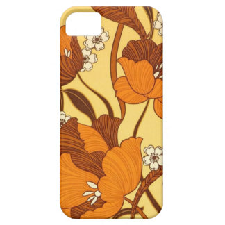 Vintage Retro Orange/Brown Flowers Case For The iPhone 5