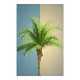 Vintage Retro Palm Tree Turquoise Blue Cream Sepia Full Color Flyer