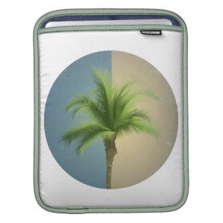 Vintage Retro Palm Tree Turquoise Blue Cream Sepia iPad Sleeve