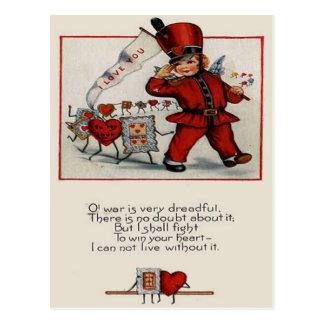 Vintage Retro Parade Leader Hearts Valentine Card Postcard