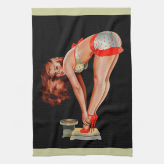 Vintage Retro Peter Driben Pinup Girl on Scale Tea Towel