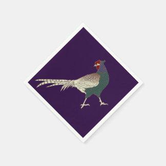 vintage retro Pheasant bird cute  napkins  Purple Paper Napkins