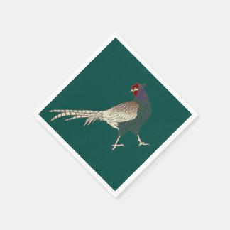 vintage retro Pheasant bird   napkins turquoise Paper Napkin