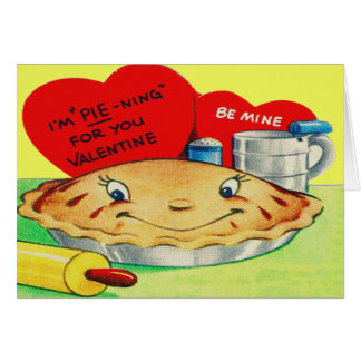 Vintage Retro Pie Valentine Greeting Card
