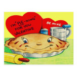 Vintage Retro Pie Valentine Postcard