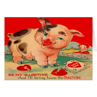 Vintage Retro Pig Bacon Valentine Card